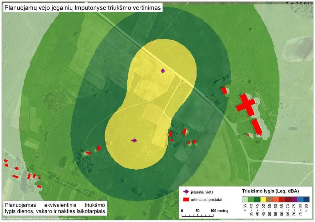 Vėjo jėgainių Prienų rajone, Intuponių kaime aplinkos triukšmo modeliavimas (2012 m.)